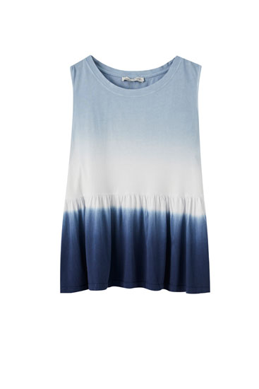 Tie-dye top with ruffled hem