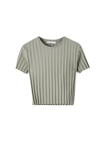 Breit geripptes Basic-Shirt