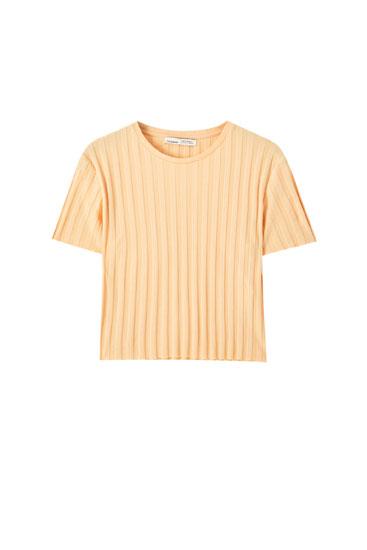 T-shirt basique côtelé large