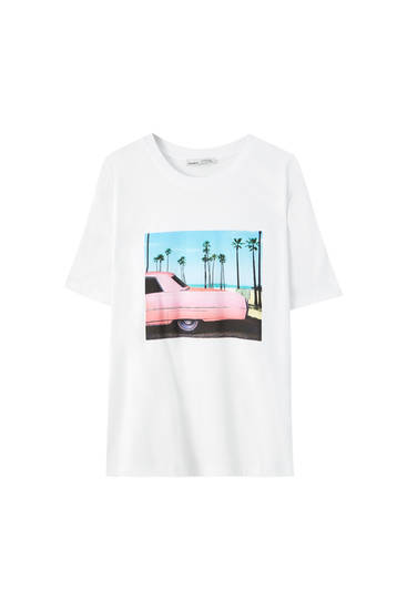 White T-shirt with palm tree and car illustration
