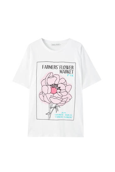 White T-shirt with pink floral illustration