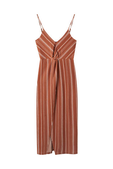 Strappy dress with front knot