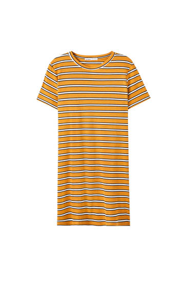 Short sleeve horizontal striped dress
