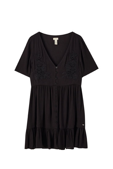 Panelled dress with embroidered detail