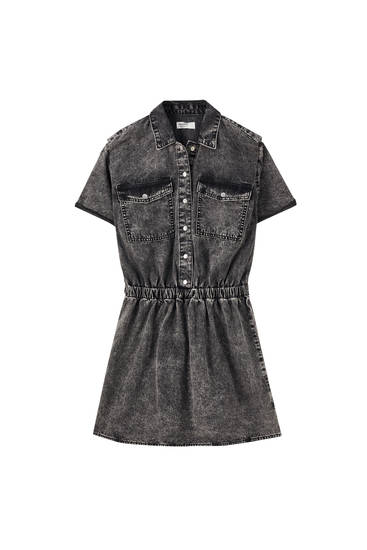 Bleached dress with an elasticated waist