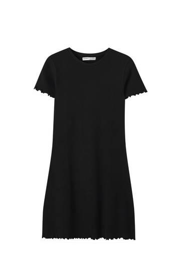 Εφαρμοστό φόρεμα basic με καρό ύφανση