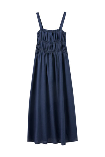 Vestido largo tirantes azul