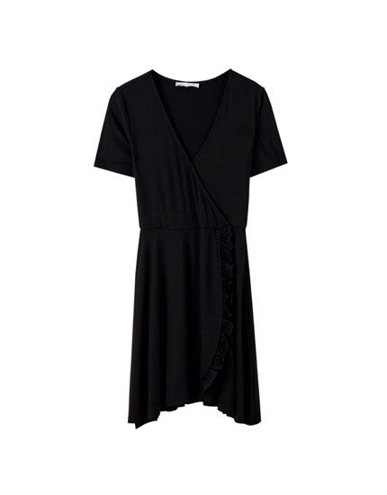 Crossover V-neck mini dress