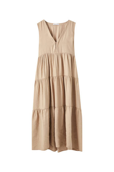 Panelled beige midi dress
