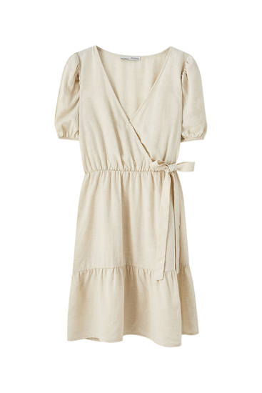 Vestido mini cruzado lino