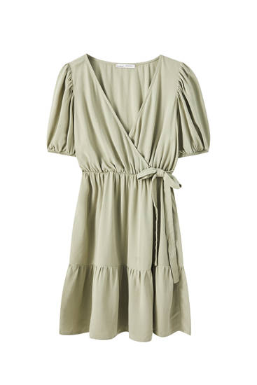 Rustic surplice mini dress