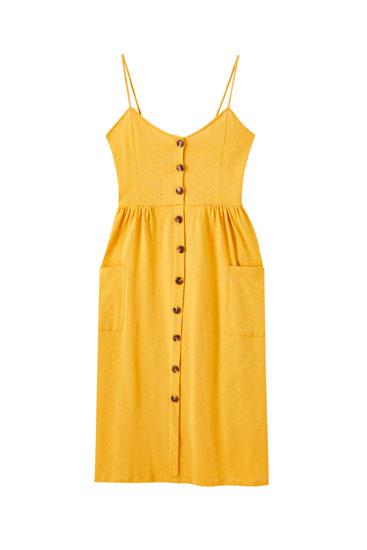 Φόρεμα με τιράντες και κουμπιά μπροστά σε άλλο χρώμα