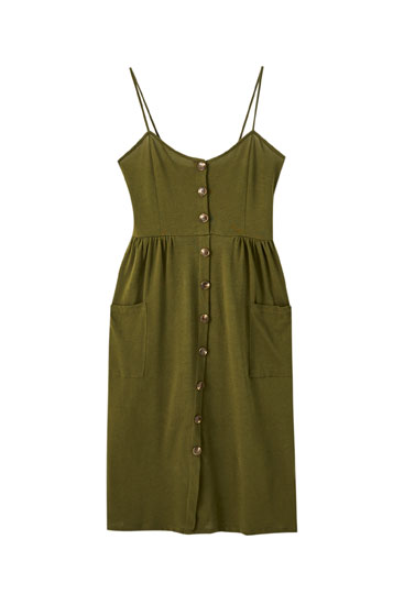 Strappy dress with contrast front buttons