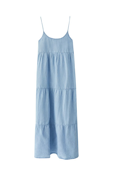 Panelled long linen dress