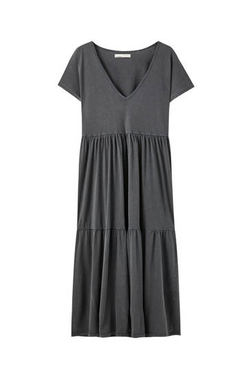 V-neck midi dress with panelled design