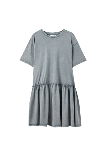 Faded-effect dress with ruffled skirt