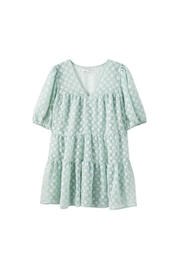 Textured babydoll dress with ruffles