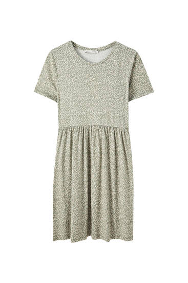 Round neck crepe dress
