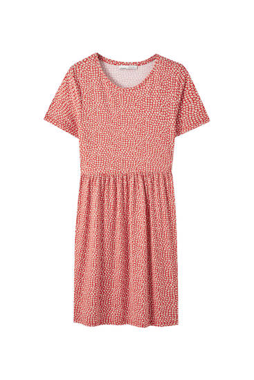 Crepe short sleeve dress