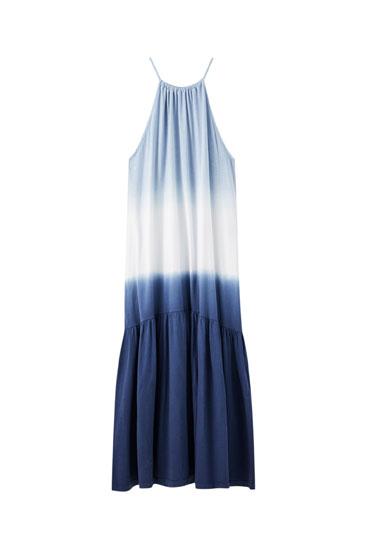 Μπλε φόρεμα tie-dye