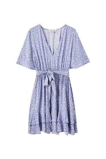 Printed blue dress with belt