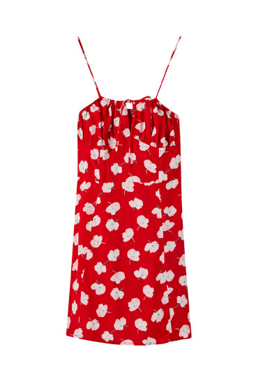 Printed dress with gathered detail on the chest