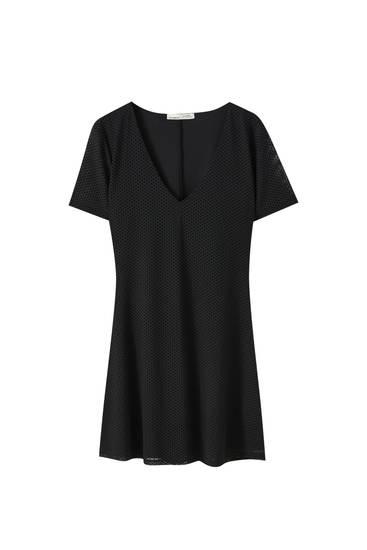 Vestido mini negro plumeti