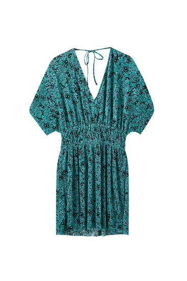Pleated kimono sleeve dress