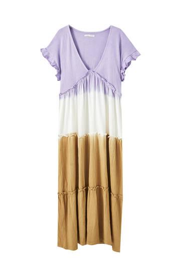 Vestido midi tie-dye manga sisa