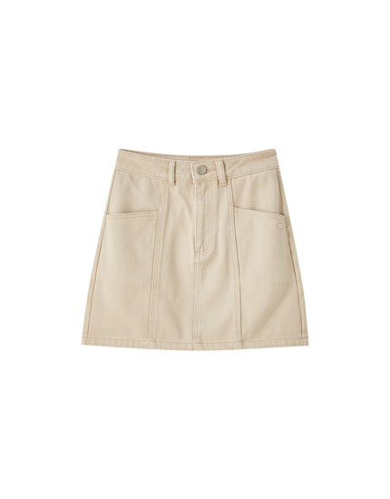Twill skirt with seam detail