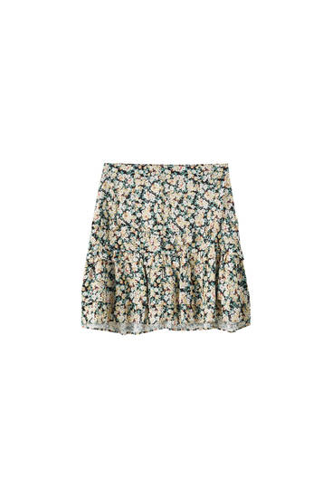 Printed skirt with ruffles