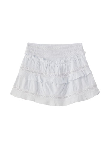 Ruffled white skirt with embroidery