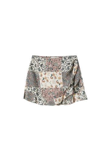 Falda pantalón estampado patchwork