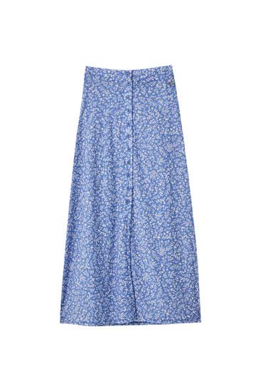 Falda azul estampado flores