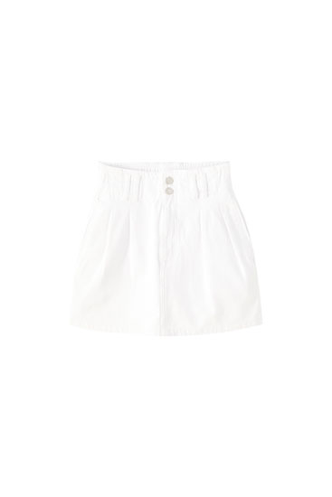 Paperbag denim mini skirt with stretch waist