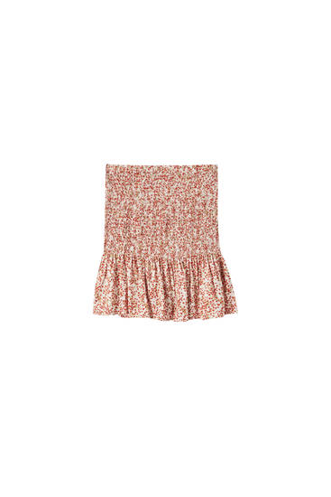 Printed shirred elastic skirt
