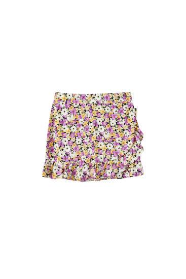 Wraparound mini skirt with ruffles