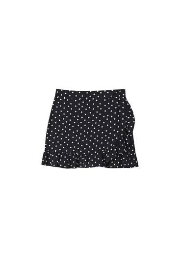 Minifalda pareo volante
