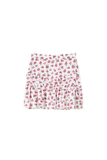 Printed mini skirt with ruffles