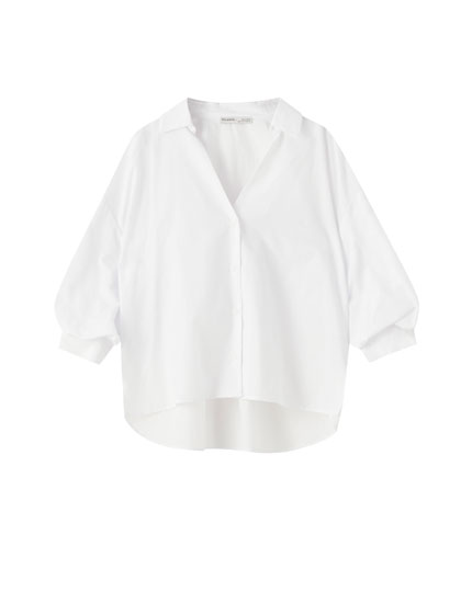 Poplin voluminous sleeve shirt