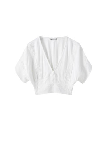 Top cropped blanco puntilla