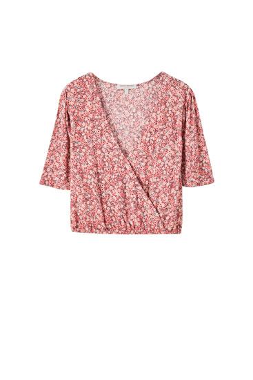 Floral print wrap blouse