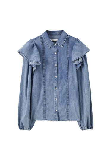 Denim shirt with ruffled shoulders
