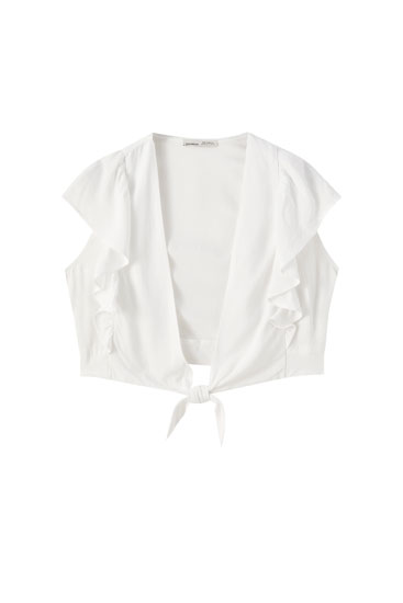 Ruffled top with front knot