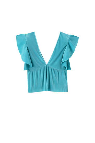 Pleated top with ruffled sleeves