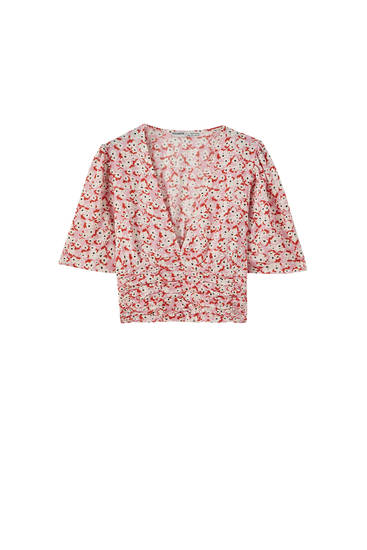 Floral print top with draped detail