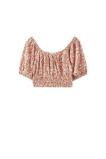 Printed top with shirred detail