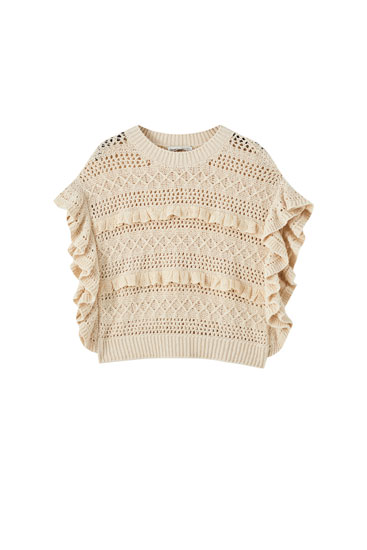 Knit sweater with ruffle trims