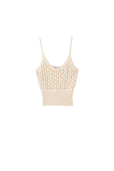 Open-knit rustic top with straps