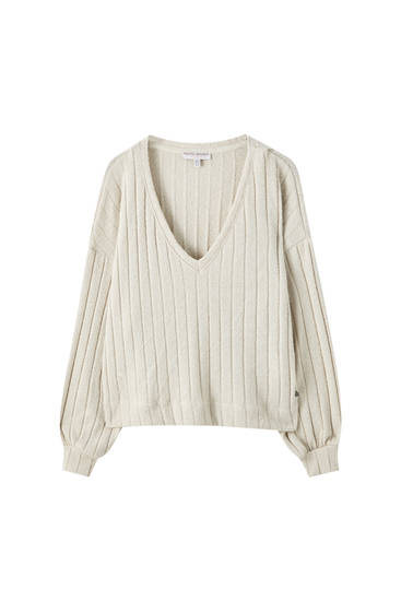 V-neck openwork sweater